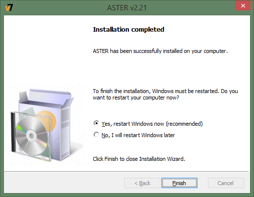 Restart the computer to finish the installation